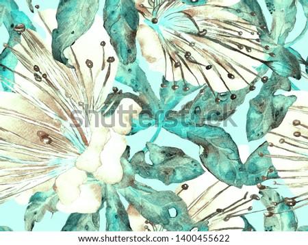 Bold Abstract Floral Pattern. Large Hawaii Seamless Print on Blue, Indigo Background. Big Jungle Spring Watercolour Granadilla Endless Background. Modern Bold Abstract Floral Pattern.