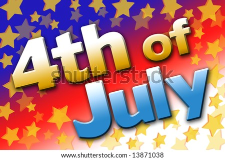 Bold and colorful 4th of July graphic (public domain free type).