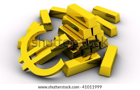 Bold bars and golden euro sign on white background.