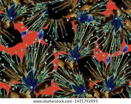 Bold Floral Design. Big Hawaiian Seamless Print on Red Background. Big Exotic Spring Watercolor Passion fruit Endless Background. Artistic Bold Floral Design.
