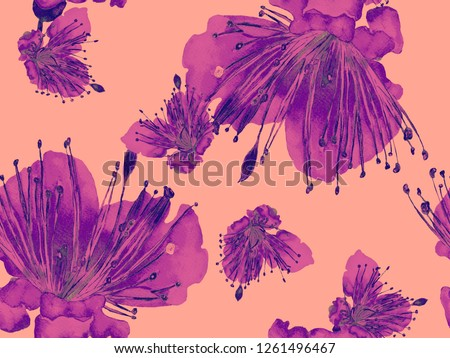 Bold Floral Design. Large Jungle Seamless Print on Red Background. Big Exotic Summer Watercolor Passion fruit Endless Background. Artistic Bold Floral Design.