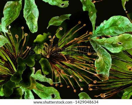 Bold Flower Pattern. Big Hawaiian Seamless Print on Green Background. Large Hawaiian Summer Watercolor Passion fruit Endless Background. Modern Bold Flower Pattern.