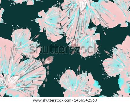 Bold Flower Pattern. Big Jungle Seamless Print on Blue, Indigo Background. Big Exotic Summer Aquarelle Lilikoi Endless Background. Modern Bold Flower Pattern.