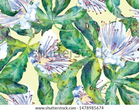 Bold Flower Pattern. Big Tropical Seamless Print on Green, Blue Background. Large Jungle Summer Aquarelle Maracuya Endless Background. Modern Bold Flower Pattern.