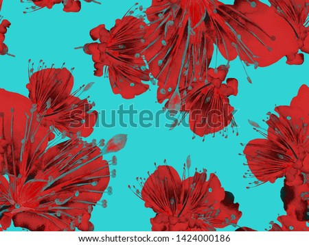 Bold Flower Pattern. Large Exotic Seamless Print on Blue, Red Background. Big Hawaii Spring Watercolour Granadilla Endless Background. Modern Bold Flower Pattern.