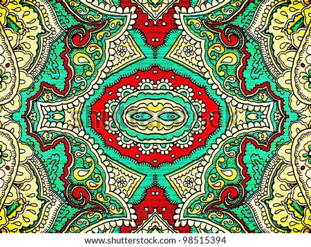 Bold, grungy, islamic, psychedelic, colorful ornament in pop art style. Good for abstract or oriental design.