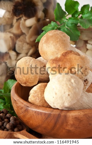 Boletes in a wooden bowl