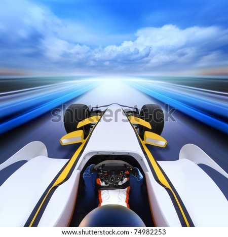 bolide driving at high speed in empty road - motion blur - stock photo