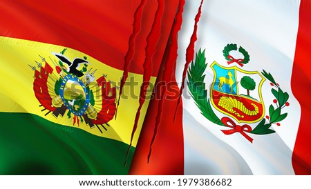 Bolivia and Peru flags with scar concept. Waving flag,3D rendering. Peru and Bolivia conflict concept. Bolivia Peru relations concept. flag of Bolivia and Peru crisis,war, attack concept