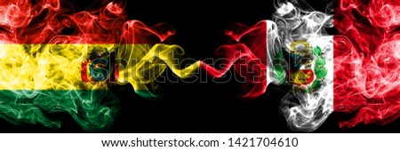 Bolivia, Bolivian, Peru, Peruan, competition thick colorful smoky flags. America football group stage qualifications match games