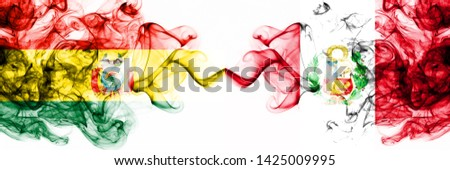 Bolivia, Bolivian, Peru, Peruan, competition thick colorful smoky flags. America football group stage qualifications match games #1425009995