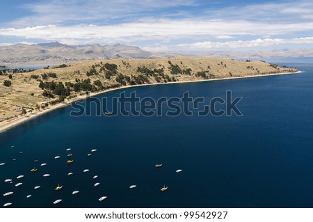 Bolivia - Copacabana city on the Titicaca lake, the largest highaltitude lake in the world (3808m). View on the harbour in the Copacabana city - stock photo