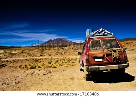 Bolivia , dramatic landscape, jeep desert and mountain - stock photo