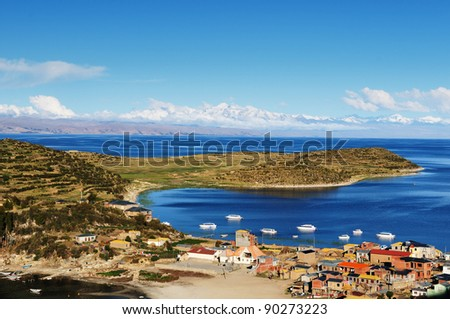 Bolivia - Isla del Sol on the Titicaca lake, the largest highaltitude lake in the world (3808m). This island's legendary Inca creation site and the birthplace of the sun.Landscape of the Titicaca lake