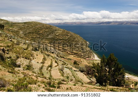 Bolivia - Isla del Sol on the Titicaca lake, the largest highaltitude lake in the world (3808m) This island's legendary Inca creation site and the birthplace of the sun. Landscape of the Titicaca lake