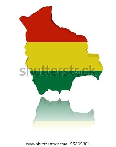 Bolivia map flag 3d render with reflection illustration