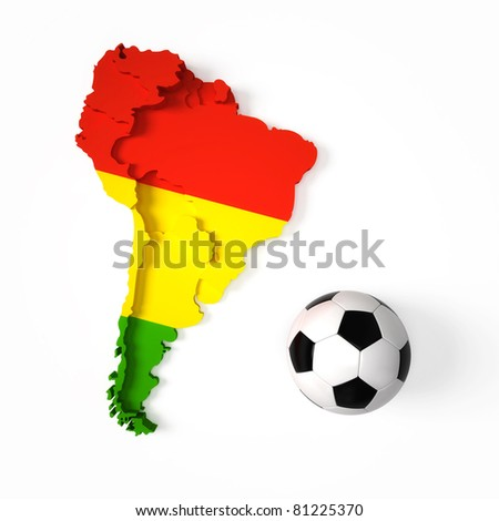 Bolivian flag on South American map