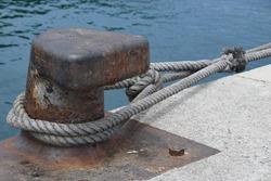 Bollard in a port for mooring ships