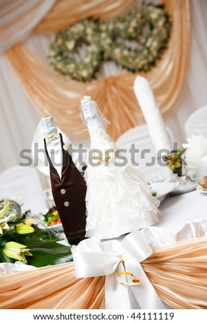 bolltes of champagne as bride and groom