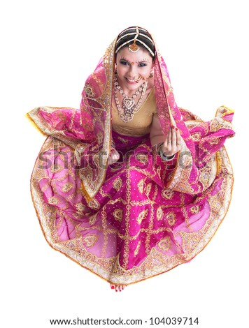 Dancer in traditional beautiful pink wedding dress stock photo