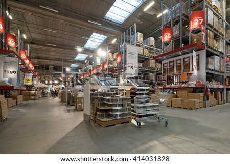 Bologna Italy April 23 2016 Interior View Inside Ikea Store