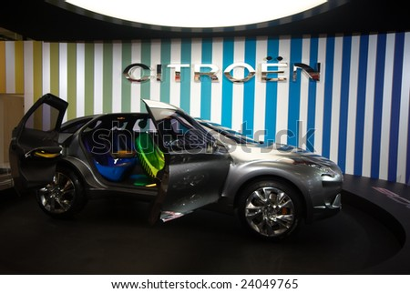 BOLOGNA,ITALY-15 DECEMBER 2008: futuristic concept model at the citroen stand, Italy, the mortoshow