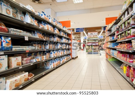 BOLOGNA, ITALY - FEBRUARY 4: Coop Supermarket, February 4, 2012 in Bologna, Italy. Coop is the main actor on the Italian market by supermarket chains, in 2010 market share reached 12.898 billion euros