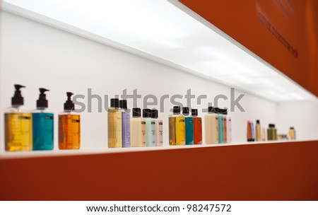 BOLOGNA, ITALY - MARCH 12: Cosmetics bottles at Cosmoprof exhibition, the largest beauty and cosmetic sector trade show in Italy with more than 170.000 attendees on March 12, 2012 in Bologna, Italy.