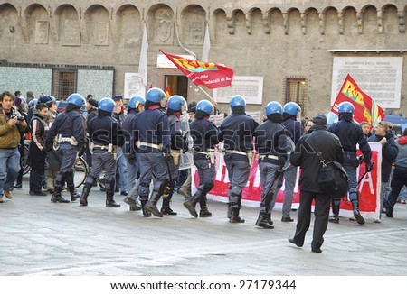 BOLOGNA, ITALY - MARCH 21 : 3000 people violate directives from Minister of the Interior Roberto Maroni and the prefect of Bologna of not to conduct demonstration in Bologna, Italy on March 21, 2009.