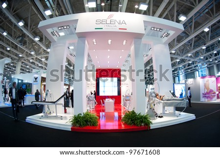 BOLOGNA, ITALY - MARCH 12: People visit Cosmoprof exhibition, the largest beauty and cosmetic sector trade show in Italy with more than 170.000 attendees on March 12, 2012 in Bologna, Italy.