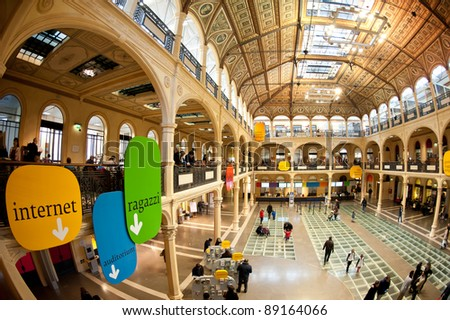 BOLOGNA, ITALY - NOVEMBER 19: Sala Borsa, the biggest library in Bologna with more than 1 million visitors every year, opens for Chocoshow exhibition, November 19, 2011 in Bologna, Italy.