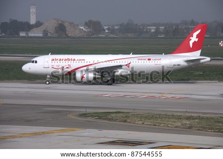 BOLOGNA, ITALY - OCTOBER 29: Airbus A320 of Air Arabia on October 29, 2009 at Bologna Airport, Italy. Air Arabia has 29 A320 in fleet and 11 more orders (Oct 2011 data).