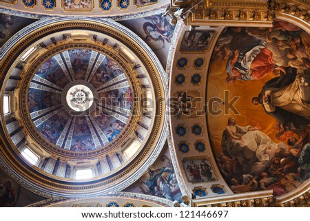 BOLOGNA, ITALY - OCTOBER, 31: ceiling of Basilica San Domenico. Two pictures are made by Giuseppe Pedretti (1696-1778), others by Vittorio Bigari (1692-1776) in Bologna, Italy on October 31, 2012