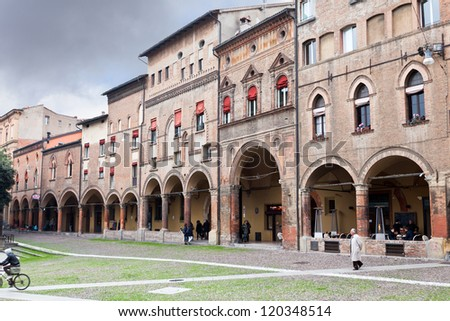 "BOLOGNA, ITALY - OCTOBER, 31: Piazza Santo Stefano in autumn day. This square holds a complex of ancient temples Sette Chiese (""Seven Churches"") in Bologna, Italy on October 31, 2012"