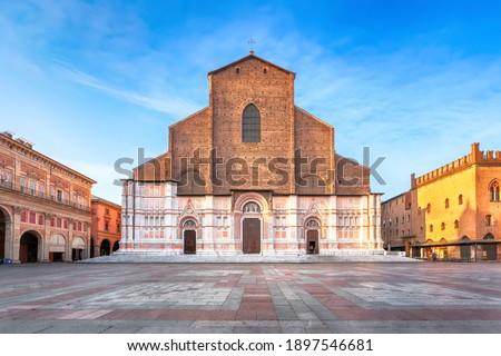Bologna, Italy. View of Basilica di San Petronio on sunrise Stock photo ©