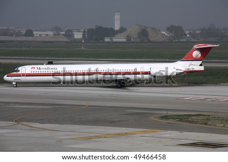 BOLOGNA - OCTOBER 29: McDonnell Douglas MD-82 of Meridiana at Bologna Airport on October 29, 2009. Compared to similar modern aircraft, MD-80s are less fuel efficient and less safe