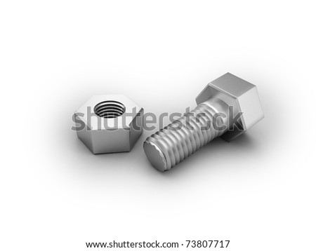 bolt and screw nut - stock photo