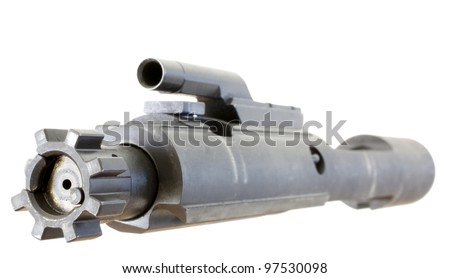 Bolt, firing pin and bolt carrier for an AR 15 isolated on white
