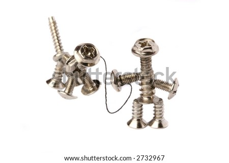 bolt-man and bolt-dog with leash on white