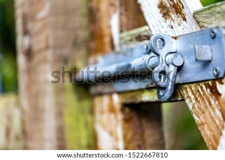 Bolt on a wooden garden gate Stok fotoğraf ©