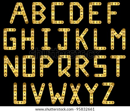 Bolted golden strip alphabet. A to Z