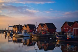 Boltenhagen Harbour Germany sunrise fishingboats