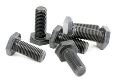 Bolts coated with protective varnish on a white background (heap)