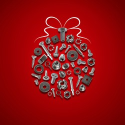 bolts, nuts, nails, screws, tools christmas ball red
