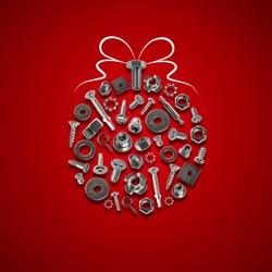 bolts, nuts, nails, screws, tools christmas ball red
