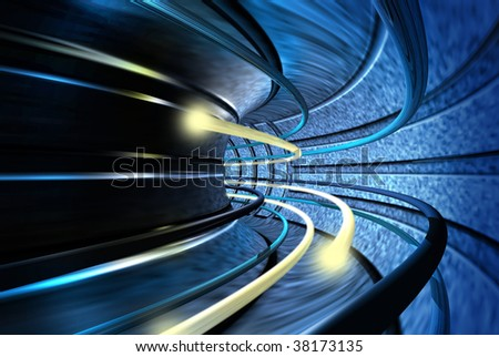 Bolts of light speeding through the acceleration tunnel