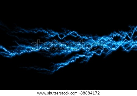Bolts of lightning extend horizontally across a black background #88884172