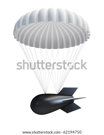 Bomb at Parachute isolated on a white background