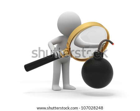 Bomb/Crisis/a people is looking at the bomb with a magnifier