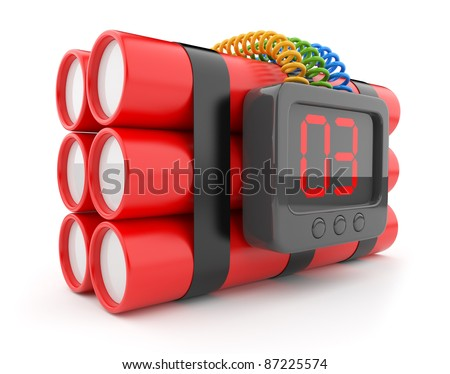 Bomb with clock timer 3D. Countdown. Icon isolated on white